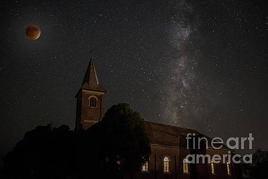 Blood Moon over St. Johns Church by Keith Kapple