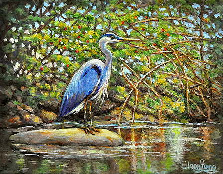 Blue Heron with Berry Bush by Eileen  Fong