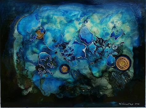 Blue Scenery With Copper Discs by Wolfgang Schweizer