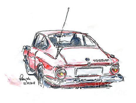 Frank Ramspott - BMW 1600 GT Fountain Pen Ink Drawing