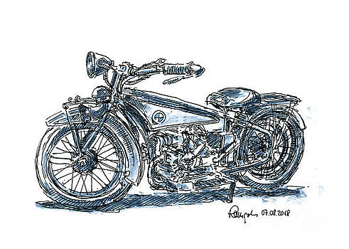 Frank Ramspott - BMW R32 Classic Motorbike Ink Drawing and Watercolor