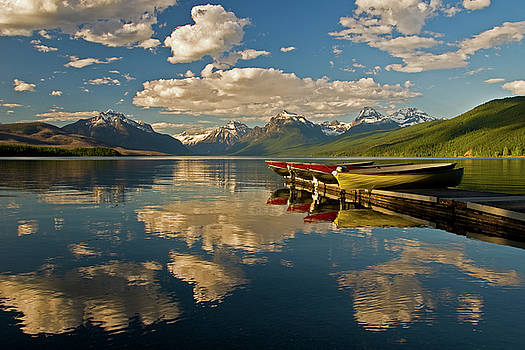 Boats at Lake McDonald by Gary Lengyel