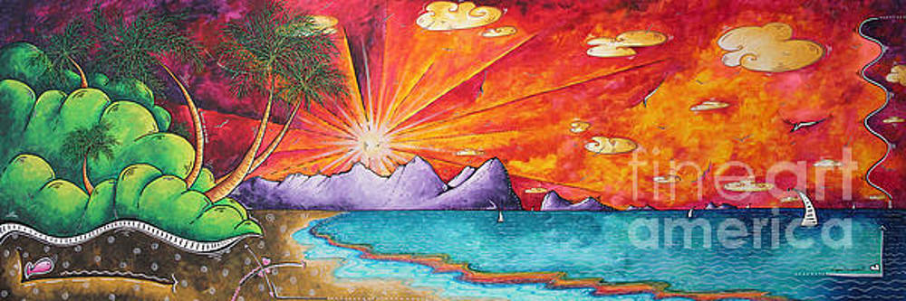 Bold Colorful Tropical Sunset Art Original Beach Painting by Megan Duncanson by Megan Duncanson