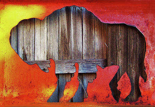 Wooden Buffalo 2 by Larry Campbell