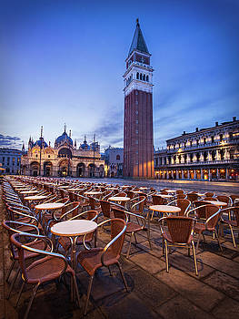 Campanile and Basilica San Marco at Dawn - Venice  by Barry O Carroll