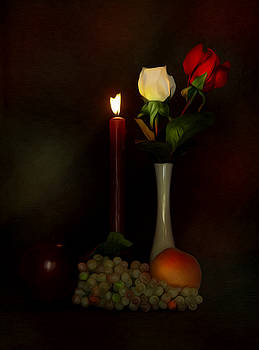 Candle and Roses by Cecil Fuselier