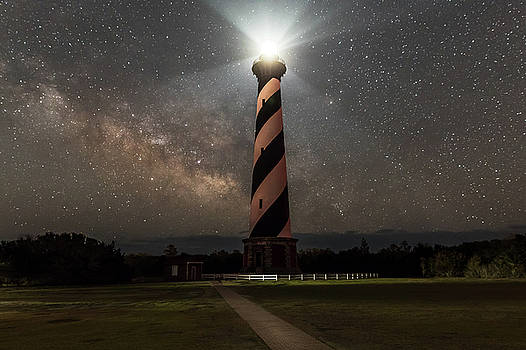 Cape Hatteras Lighthouse under the stars by Nick Noble