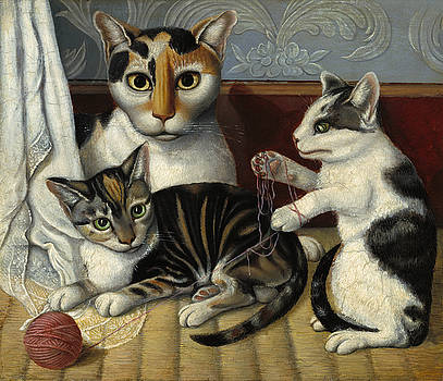 American 19th Century - Cat and Kittens