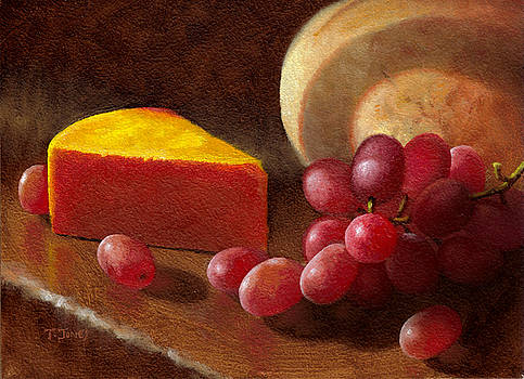 Cheese Wedge and Grapes by Timothy Jones