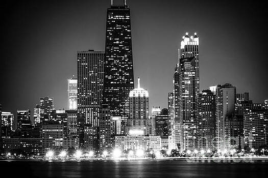 Paul Velgos - Chicago at Night Black and White Picture