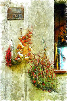 Chilli peppers and onions hanging on the wall by Giuseppe Cocco