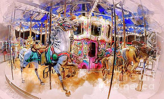 Christmas Carousel Watercolor by David Smith