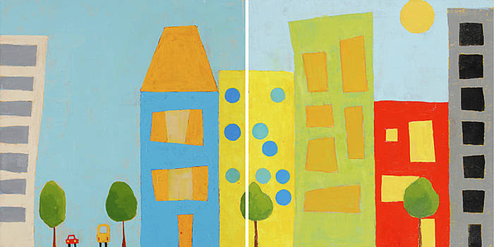 City Scene Diptych by Laurie Breen