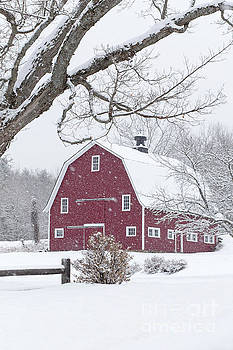 Classic New England Red Barn in Winter by Edward Fielding