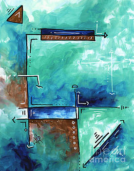 Colorful Abstract PoP Art Style Original Painting Sea Green Blues and Brown by Megan Duncanson by Megan Duncanson