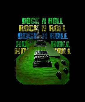 Colorful Music Rock N Roll Guitar Retro Distressed  by Guitar Wacky