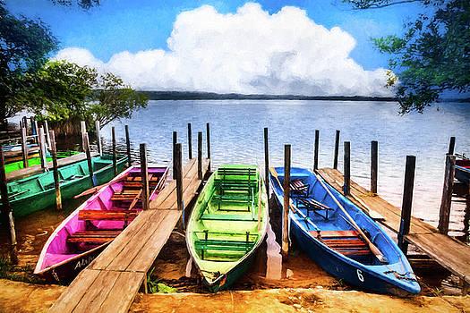Debra and Dave Vanderlaan - Colorful Rowboats at the Lake Oil Painting