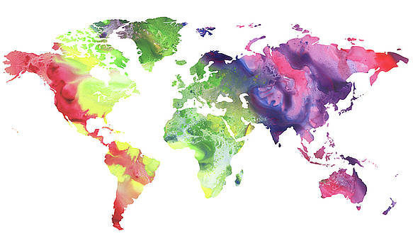 Colorful Watercolor World Map by Irina Sztukowski