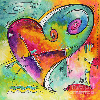 Colorful Whimsical PoP Art Style Heart Painting Unique Artwork by Megan Duncanson by Megan Duncanson