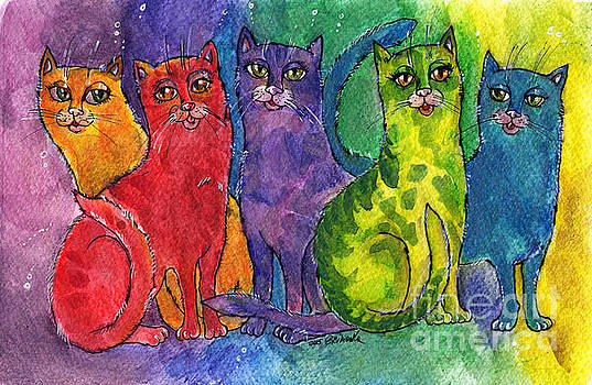 Angel Ciesniarska - colourful cats