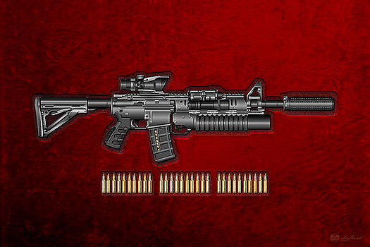 Serge Averbukh - Colt  M 4 A 1  S O P M O D Carbine with 5.56 N A T O Rounds on Red Velvet