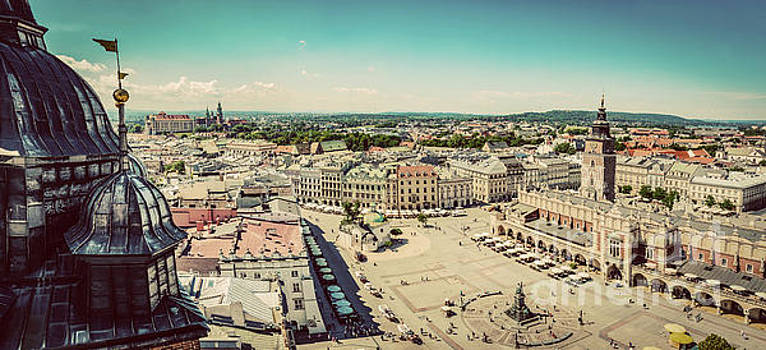 Michal Bednarek - Cracow, Poland panorama. Old town market square and Cloth Hall
