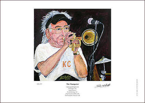 Cuff Billett on Trumpet - Giclee Print by Peter Mark Butler
