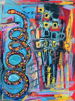 Dancing Snake Abstract by Maggis Art
