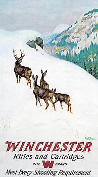 Deer In Snow by Philip R Goodwin