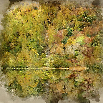 Digital watercolour painting of Beautiful Autumn Fall landscape  by Matthew Gibson