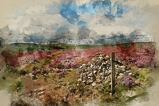 Digital watercolour painting of Beautiful vibrant landscape imag by Matthew Gibson