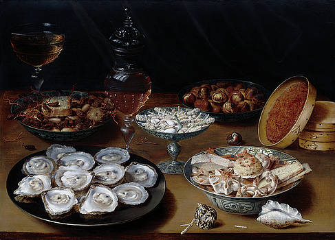 Osias Beert the Elder -  Dishes with Oysters, Fruit, and Wine
