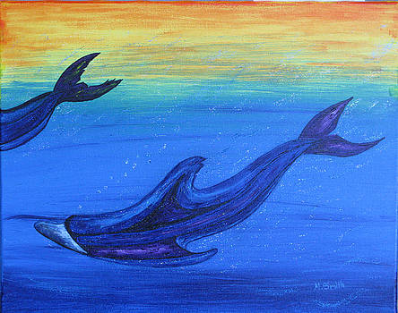 Dolphins at play by Mark E Smith