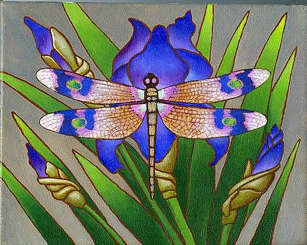 Dragon Fly and Iris by Jane Whiting Chrzanoska