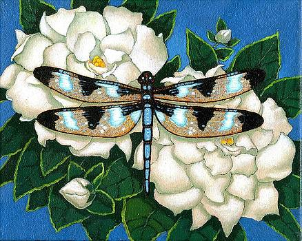 Dragon Fly and White Flower by Jane Whiting Chrzanoska