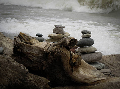 Driftwood Cairns by Kimberly Mackowski