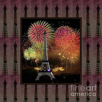 Effel Tower Paris France landmark photography towels pillows curtains tote bags by Navin Joshi