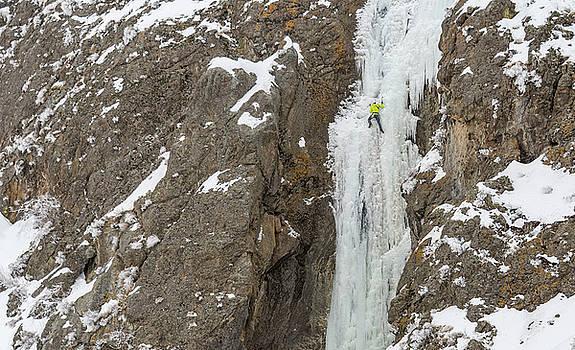 Elijah  Weber climbing Kettle Falls near Homedale Idaho by Elijah Weber