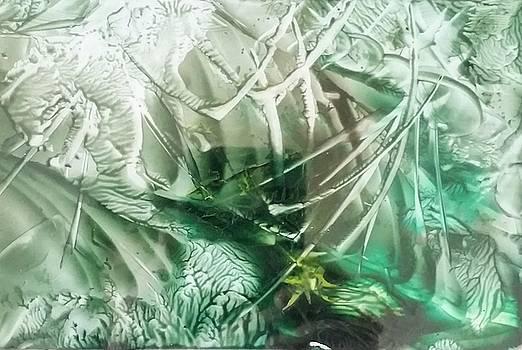 Encaustic abstract green foliage by Lorraine Bradford