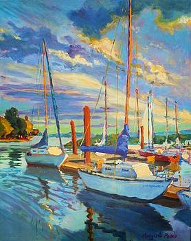 Evening at the Marina by Margaret  Plumb