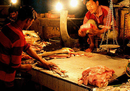Faces of India - Fish Butchers by Steve Rudolph
