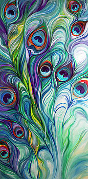 Feathers Peacock Abstract by Marcia Baldwin