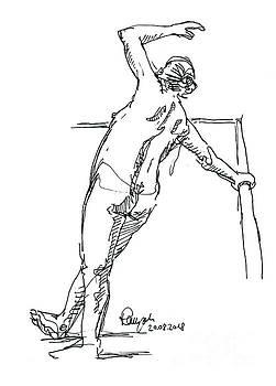 Frank Ramspott - Female Figure Drawing Leaning Pose Fountain Pen Ink