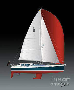 FH 39 Sailboat by Regina Marie Gallant