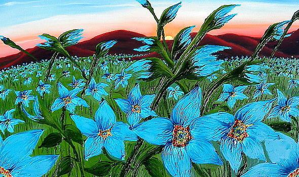 Field OF Blue Flax Flowers by Portland Art Creations