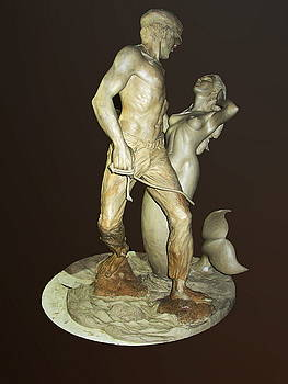 Fisherman and mermaid by Jacqueline Del  Fonso