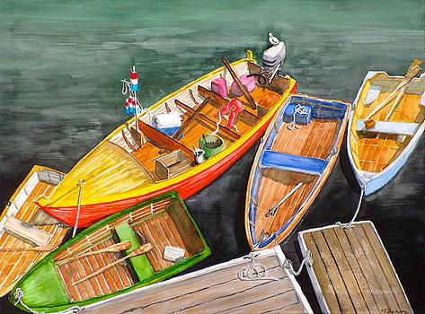Five boats in Rockport Harbor by Vic Delnore