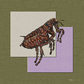 Serge Averbukh - Flea on Abstract Beige Lavender and Dark Khaki