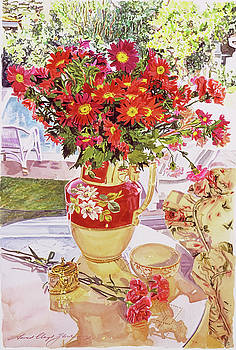 Flower Jug In The Window by David Lloyd Glover