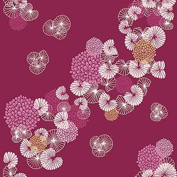 Flowers Seamless Pattern on Dark Pink by Paula Ohreen